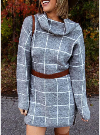 Plaid Long Sleeves Sheath Above Knee Casual Sweater Dresses