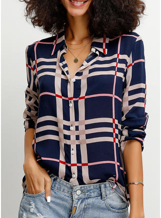 Print Lapel 3/4 Sleeves Button Up Casual Shirt Blouses