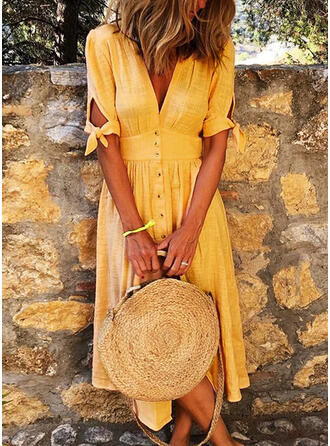 Solid Short Sleeves A-line Casual/Vacation Midi Dresses
