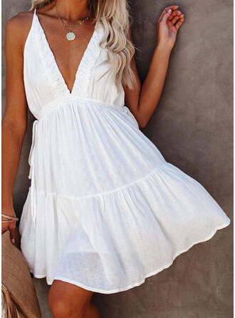 Solid Sleeveless A-line Above Knee Casual/Vacation Dresses