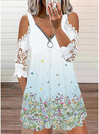 Print/Floral 1/2 Sleeves Cold Shoulder Sleeve Shift Above Knee Casual Tunic Dresses