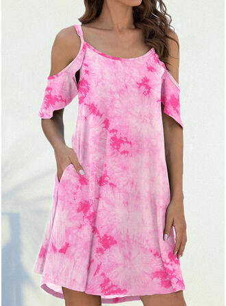 Print 1/2 Sleeves Shift Above Knee Casual Dresses
