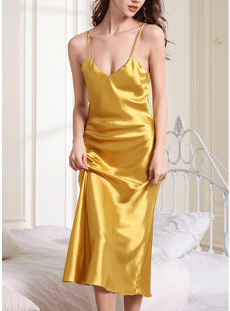 Polyester Spandex Plain Deep V Plus Size Sexy Backless Alluring Slip