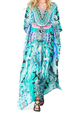 Print V-Neck Eye-catching Retro Casual Cover-ups Swimsuits