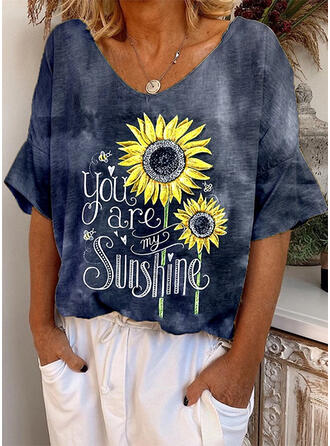 Sunflower Print V-Neck 1/2 Sleeves Casual T-shirts
