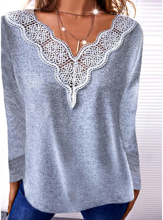Solid Lace V-Neck Long Sleeves T-shirts