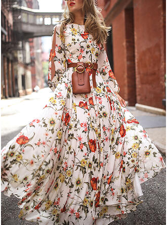 Print/Floral Long Sleeves/Cold Shoulder Sleeve A-line Skater Casual Maxi Dresses