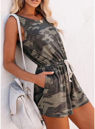 Print Round Neck Sleeveless Casual Vacation Romper