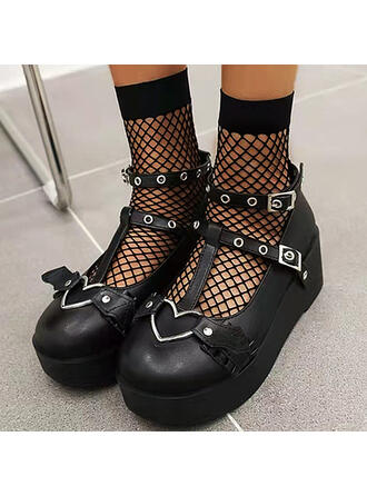 Women's PU Flat Heel Flats Mary Jane Round Toe With Buckle Solid Color shoes