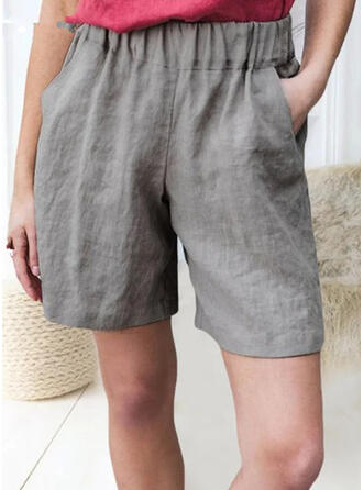 Pockets Shirred Plus Size Above Knee Casual Tribal Shorts