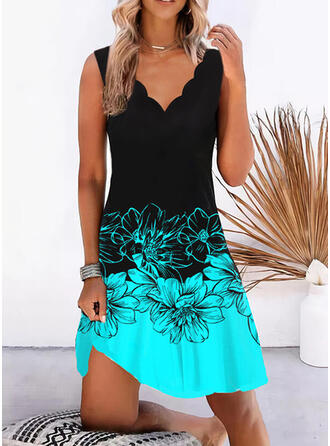 Print/Floral/Color Block Sleeveless Shift Above Knee Casual Tank Dresses