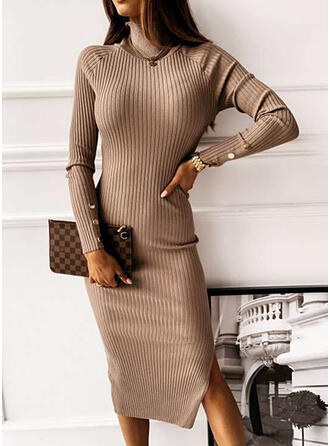 Solid Turtleneck Long Tight Sweater Dress
