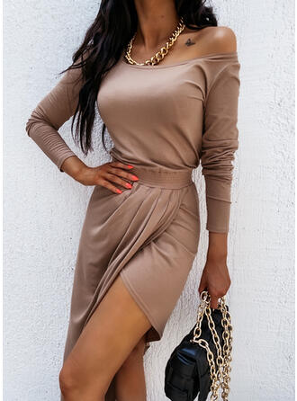 Solid Long Sleeves Asymmetrical Above Knee Casual Dresses