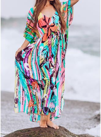 Print V-Neck Attractive Eye-catching Casual Cover-ups Swimsuits