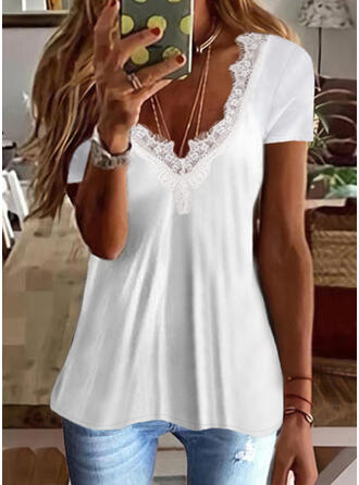 Solid Lace V-Neck Short Sleeves T-shirts