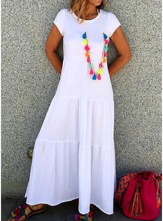 Solid Short Sleeves A-line Casual Maxi Dresses