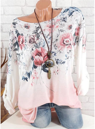 Floral Round Neck Long Sleeves Casual Elegant Blouses