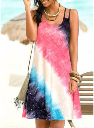 Splice color Gradient Strap U-Neck Plus Size Colorful Casual Cover-ups Swimsuits