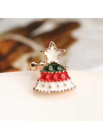 Christmas Tree Shaped Christmas Alloy With Star Earrings