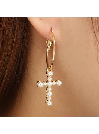 Cross Alloy With Imitation Pearls Earrings (Set of 2)