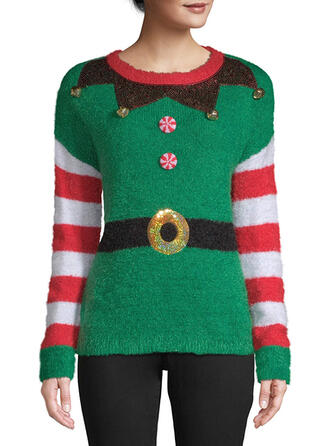 Polyester Print Striped Ugly Christmas Sweater