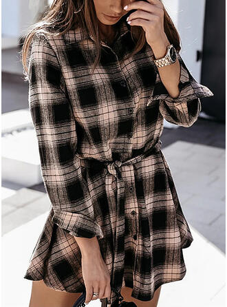 Plaid Long Sleeves Sheath Above Knee Casual Shirt Dresses