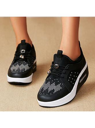 Women's Mesh PU Flat Heel Flats Low Top Round Toe Sneakers With Lace-up Solid Color shoes