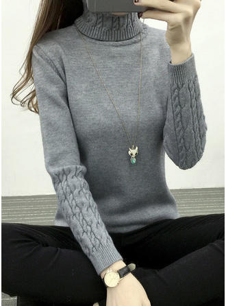 Solid Chunky knit Turtleneck Casual Tight Sweaters