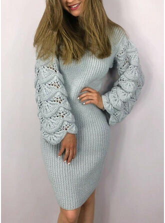 Solid Long Sleeves Bodycon Knee Length Little Black/Casual/Elegant Sweater Dresses