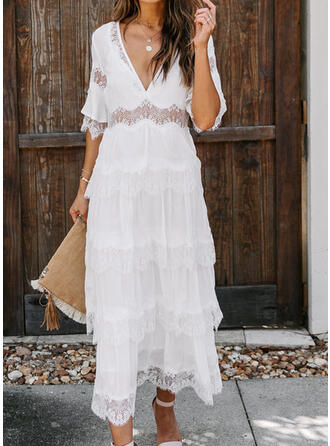 Lace/Solid 1/2 Sleeves A-line Casual/Vacation Maxi Dresses