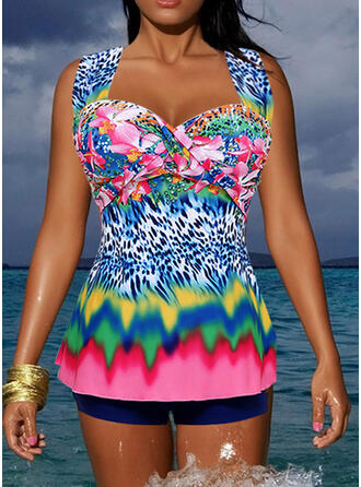 Splice color Tropical Print Hollow Out Strap Sports Casual Tankinis Swimsuits