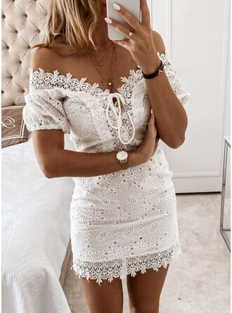 Lace/Solid Short Sleeves Bodycon Above Knee Sexy/Party Dresses