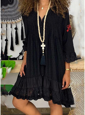 Embroidery Long Sleeves Shift Knee Length Casual Dresses