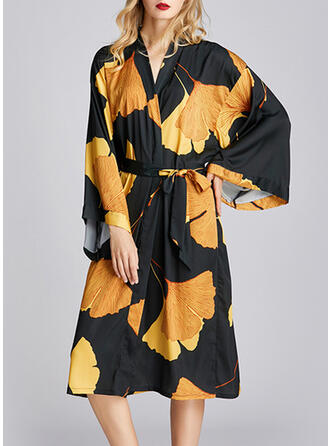 Polyester Print Floral Plus Size V Neck 3/4 Sleeves Alluring Robe