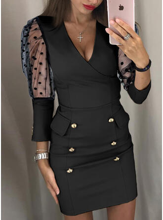 PolkaDot Long Sleeves/Puff Sleeves Bodycon Above Knee Little Black/Casual/Elegant Dresses