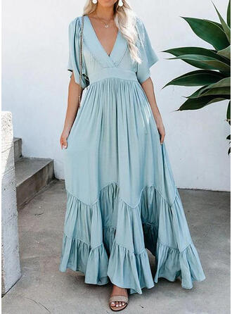 Solid 1/2 Sleeves A-line Casual/Vacation Maxi Dresses