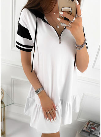 Color Block Short Sleeves Shift Above Knee Casual Dresses