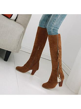 Women's PU Chunky Heel Over The Knee Boots Pointed Toe With Zipper Solid Color shoes