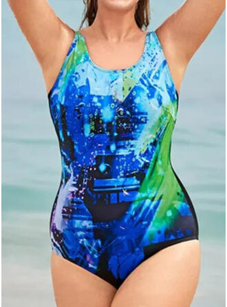 Splice color Gradient Strap High Neck Sports Casual One-piece Swimsuits