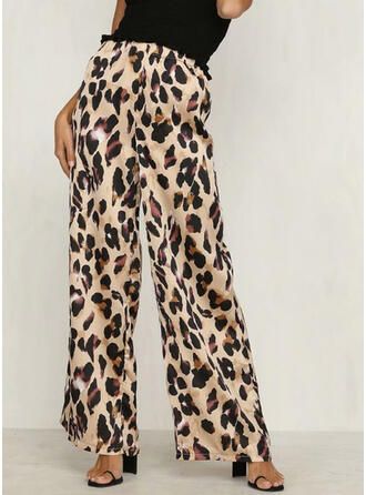 Shirred Leopard Sexy Skinny Pants