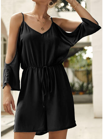 Solid Spaghetti Strap Long Sleeves Cold Shoulder Sleeve Casual Sexy Romper