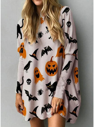 Animal Print Long Sleeves Shift Above Knee Casual/Party/Halloween Tunic Dresses