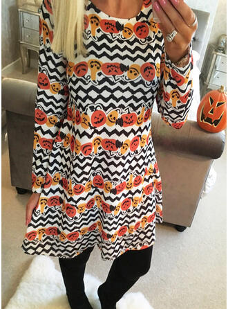 Print Long Sleeves Shift Above Knee Party/Halloween Tunic Dresses