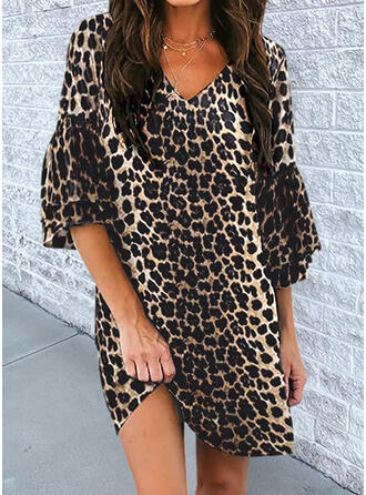 Leopard 3/4 Sleeves/Flare Sleeves Shift Above Knee Casual Dresses