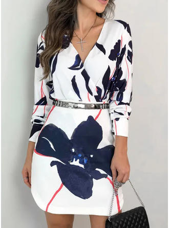Print/Floral Long Sleeves Sheath Knee Length Casual Dresses