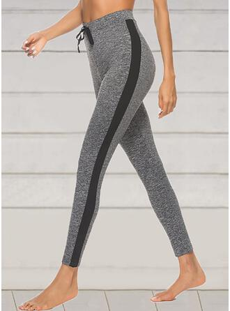 Patchwork Drawstring Cropped Sexy Sporty Yoga Pants Leggings
