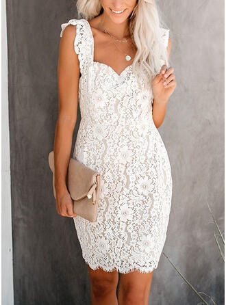 Lace/Solid Sleeveless Bodycon Above Knee Casual/Party Dresses