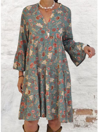 Print Long Sleeves/Flare Sleeves Shift Knee Length Casual/Vacation Dresses