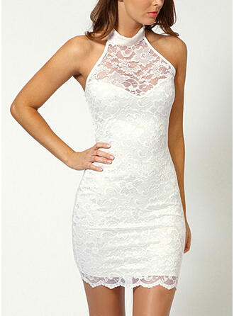 Lace/Solid Sleeveless Bodycon Above Knee Little Black/Sexy/Party Dresses