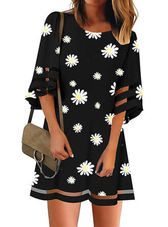 Print/Floral 3/4 Sleeves Shift Above Knee Casual/Elegant Dresses